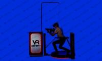 ВР Комбат в очках виртуальной реальности с оружием