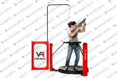 Человек бегает на платформе с винтовкой в очках VR